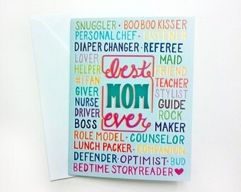 Mother's Day Card, Best Mom Ever Card, Illustrated Mother's Day Card, Handlettered, 4x5.5