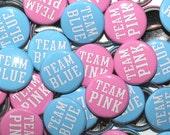 """50 Baby Shower 1"""" Pinbacks - Team Pink Team Blue LIGHT - Gender Reveal Party Favors"""