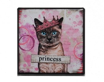 Princess Cat - Pinback Button Badge 2 inch - Cat with Crown