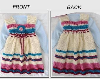 KNITTING PATTERN - DRESS - Girls dress, Baby dress - Beginner knitting - Fantasia Dress - hat available in separate listing. Pattern #241-L