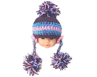 INSTANT DOWNLOAD Crochet Pattern PDF 197 Photo prop  Baby Pom Pom Flower EarFlap hat - make newborn to Age  5