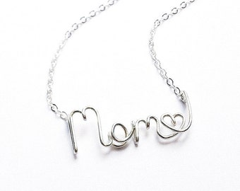 Mom Name Necklace. Sterling Silver. AzizaJewelry.