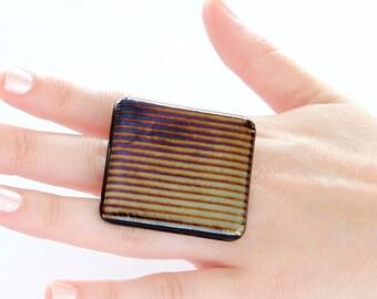 Adjustable Statement Ring Fused Glass - big ring, fused glass ring, handmade statement cocktail ring, Studioleanne - 2.1 inch