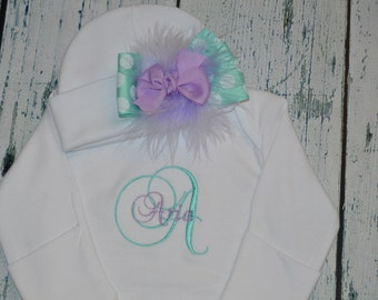 Custom Personalized Newborn Gown and Cap with Bow Monogrammed