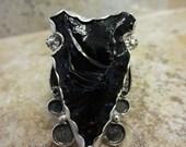 Western Sterling Silver Black Obsidian Arrowhead Ring - Size 9