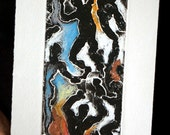 Fire and Ice: wall art, home decor, abstract etching, with pastel