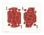 King and Queen of Hearts Illustrated Art Print
