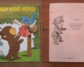 Vintage 60s children's book Winkie Bear in What A Good Helper a fuzzy book sc children boy girl