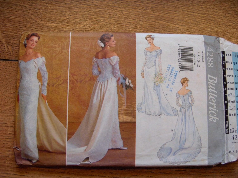 1995 butterick pattern 4288 wedding dress bridal gown sz for Butterick wedding dress patterns