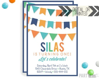 First Birthday Party Invitation - Digital or Printed - Flag Bunting Banner Invitation, Any Age Invitation, Birthday Invitation, Adult Party