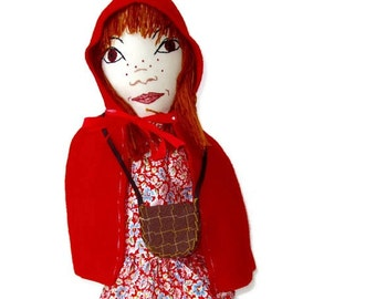 Little Red Riding Hood Hand Puppet Custom Made- Little Girl in Red- Imaginative Play Toy