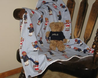 ABC Baby Blanket Featuring Ralph Lauren Polo Teddy Bears Fabric