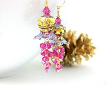 Pink & Gold Flower Earrings, Fuchsia Crystal Dangle Earrings, Holiday Earrings, Nature Jewelry, Floral Earrings, Lampwork Earrings - Adriana