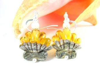 Seashell Earrings, Nautical Earrings, Topaz Yellow Ivory Earrings, Beach Earrings, Ocean Earrings, Lampwork Earrings, Beach Jewelry - Clams