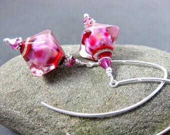 Hot Pink Red Dangle Earrings, Glass Drop Earrings, Lampwork Earrings Sterling Silver Earrings Triangle Earrings Modern Earrings Contemporary