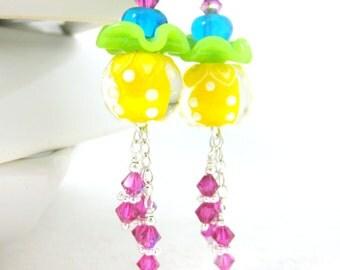Colorful Whimsical Earrings, Funky Earrings, Fun Earrings, Ruffle Earrings, Crystal Dangle Earrings Lampwork Earrings Yellow Green Pink Blue