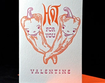 Hot for you Valentine Letterpress printed card
