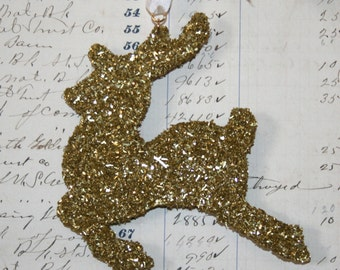 Genuine German Gold Glass Glitter Reindeer Vintage Inspired Ornament