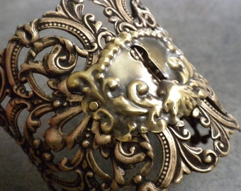 Steampunk Jewelry Statement Cuff Escutcheon Bracelet Key Hole