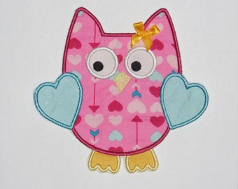 "Embroidered Iron On Applique ""Valentine Owl""  RTS"