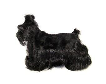 Black Scottish Terrier Dog Figurine Faux Fur