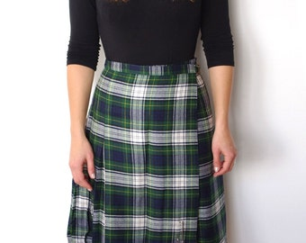 French vintage scottish tartan plaid checked pleated kilt skirt -small S