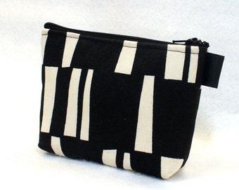 Mod Stripe Sticks Zipper Pouch Small Cosmetic Bag Makeup Bag Gadget Pouch Zip Bag Black Cream MTO