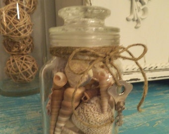 Vintage glass jar of Seashells ~ with twine and rusty old key ~ Beach cottage shells