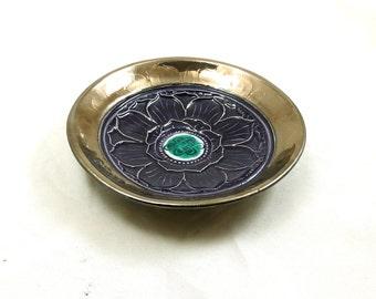 RAKU Lotus  Offering Bowl  Handmade Ceramic  POTTERY