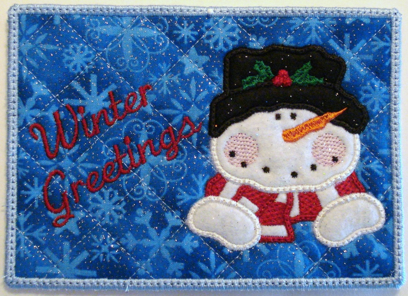 Machine embroidery design ith mug rug applique snowman with