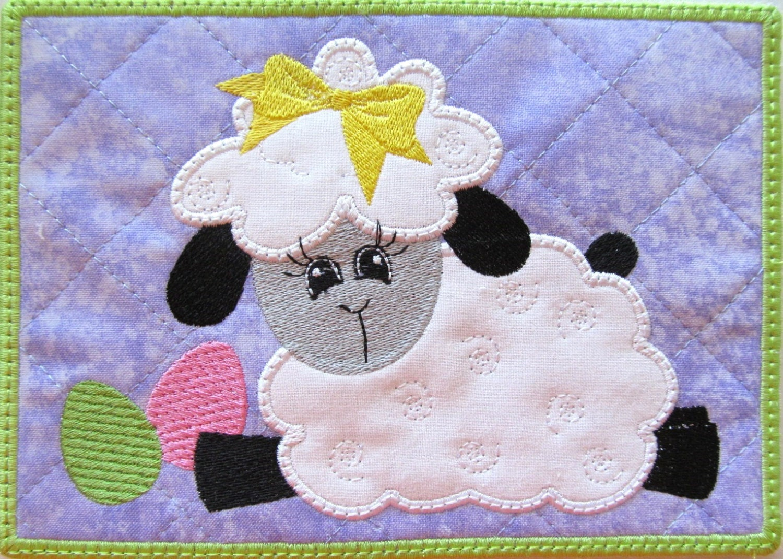 machine embroidery mug rug
