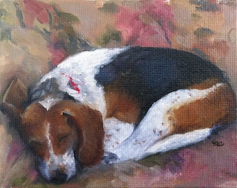 Nap On The Couch - Blank Card of Original Beagle Dog Painting by Nancy Cuevas