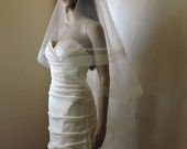 "Wedding Drop Veil Illusion Tulle with 2"" Horsehair Trim, Bridal Veil,  HH2G Blush White Ivory Champagne Off White Light Ivory"