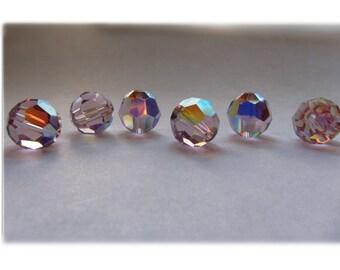 10mm Light Amethyst AB Swarovski Round Beads - (6)