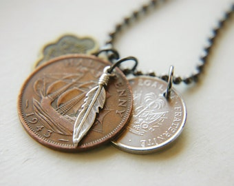 Unisex Coin Necklace Sterling Silver Feather Ball Chain  - The Collector III.