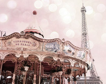 Paris Carousel Eiffel Tower, Paris Photography, Baby Girl Nursery Decor, Paris Shabby Chic Decor, Paris Girl's Room Decor, Paris Carousels
