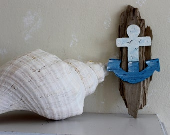 Hand Painted Nautical Anchor on Rustic Driftwood Wall Hanging , Beach House Wall Art