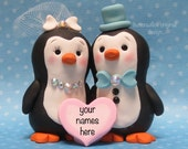 Penguin Wedding Cake Topper Penguins Stay Togeher for Life / Animals / Love Birds