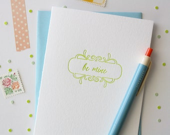 Letterpress Valentine Card // Be Mine