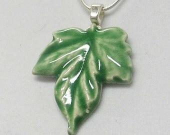 Green Leaf Porcelain Necklace