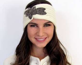 Winter White Knit Headband Bohemian Ruched Ear Warmer Crystal Beaded Jeweled Head Wrap Crystal Ear warmer Gifts for Her FLASH SALE