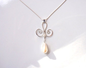 Sterling Silver and White Pearl Swirl Necklace