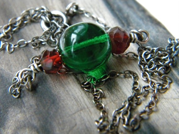 Emerald green glass upcycled vintage bead and red garnet necklace - sterling silver handmade winter jewelry jewel tones