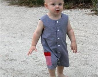 Boy Sunsuit - Boy Snap Outfit, Toddler Boy Romper, Jon Jon PDF Pattern, One Piece Romper, Boy's Clothing, Easy Sewing Pattern