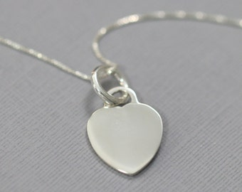 Sterling Silver Heart Necklace, Silver Heart Necklace, Gift for Her, Gift for Wife, Girlfriend Gift, Everyday Necklace, Bridesmaid Necklace