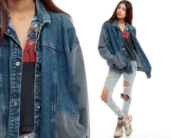 80 s denim veste grunge veste en jean denim fonc des ann es - Veste annee 80 ...