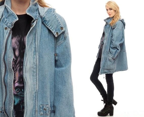 capuche veste en jean grunge des ann es 80 jean veste hoodie. Black Bedroom Furniture Sets. Home Design Ideas