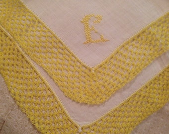"""Yellow """"E"""" monogram on White Linen Handkerchief with Yellow Crochet in lover's Knot Pattern"""