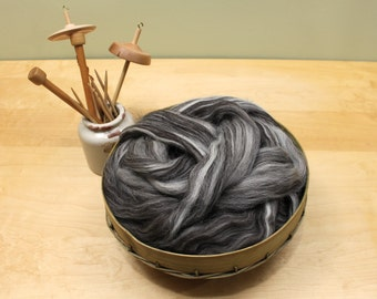 Jacob Wool Top - Humbug - Undyed Roving for Spinning or Felting (8oz)