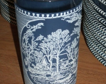 1960s Blue and White Currier & Ives- 13 oz Glass/Tumbler
